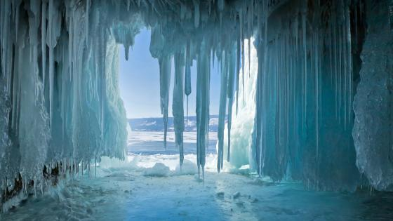 Icicles at Lake Baikal wallpaper