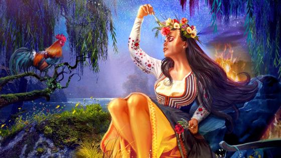 Fantasy Girl digital painting wallpaper