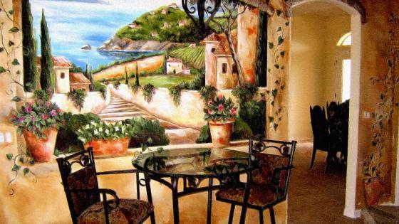 Fantasy Tuscan Balcony wallpaper