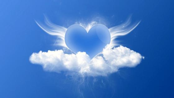 Blue heart on a fluffy cloud wallpaper