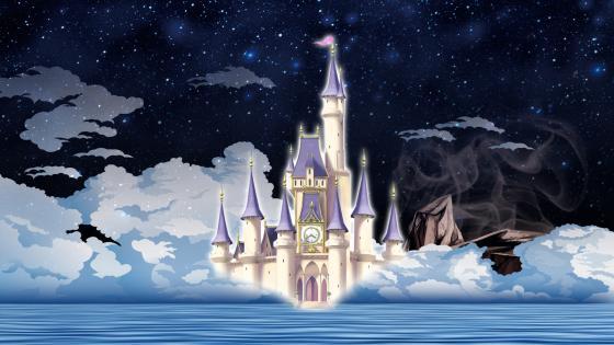Dream blue fantasy castle wallpaper