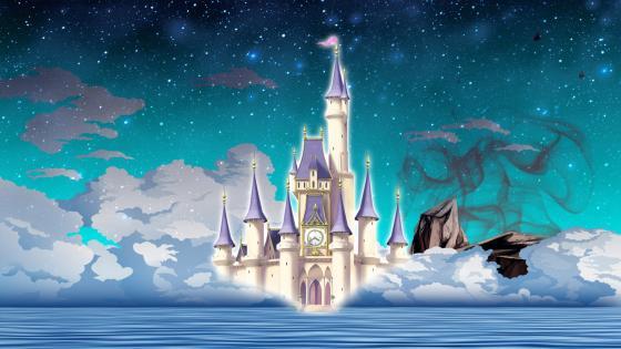 Dream blue castle wallpaper