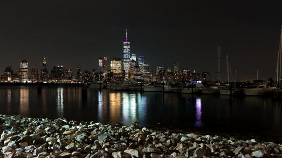 Lower Manhattan by night wallpaper