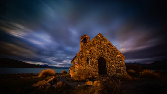 Moody skies over the Church of the Good Shepherd, New Zealand wallpaper