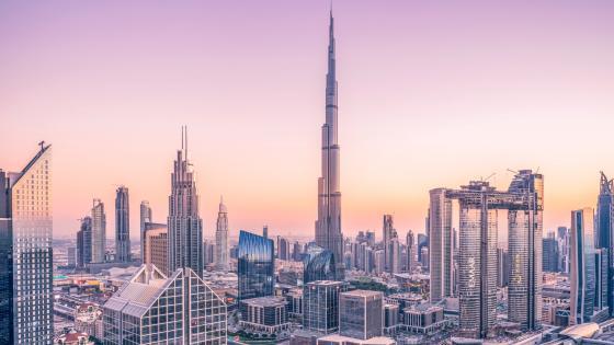 Burj Khalifa pink sky wallpaper