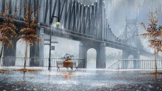Romantic rainy autumn day painting art wallpaper