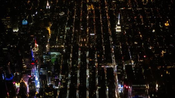 Aerial View of Times Square & the Empire State Building at Night wallpaper