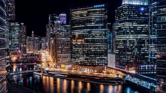 Chicago night city lights wallpaper