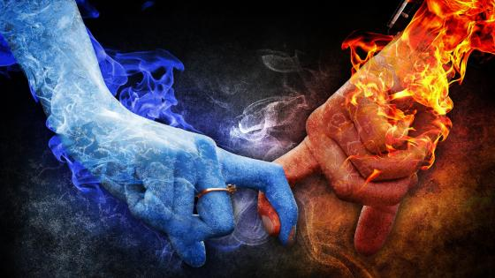Fire and ice hand in hand wallpaper