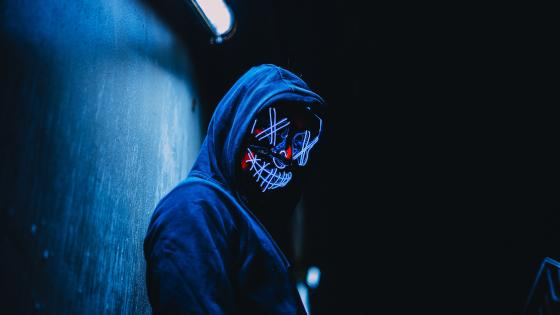Blue neon masked guy wallpaper