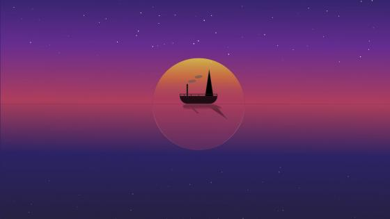Lonely Sailor in the sunset- Minimal seascape wallpaper