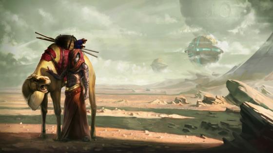Cyberpunk woman wayfarer with a camel wallpaper