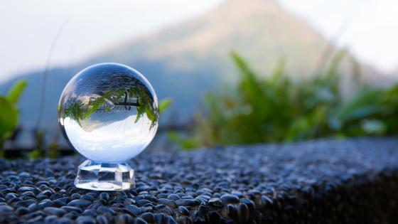 Glass ball landscape reflection wallpaper