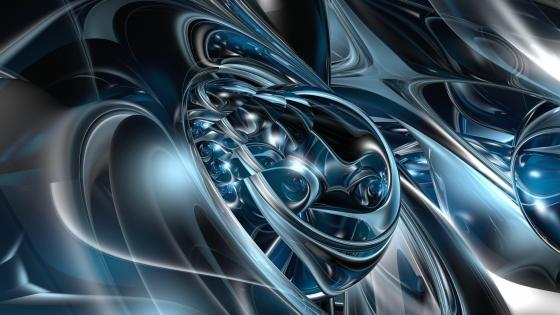3D Blue fractal shape wallpaper