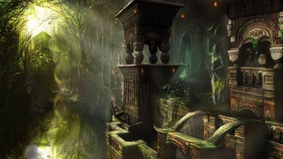 Ancient fantasy temple ruins wallpaper