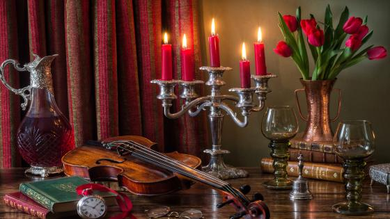 Violin still life photography wallpaper