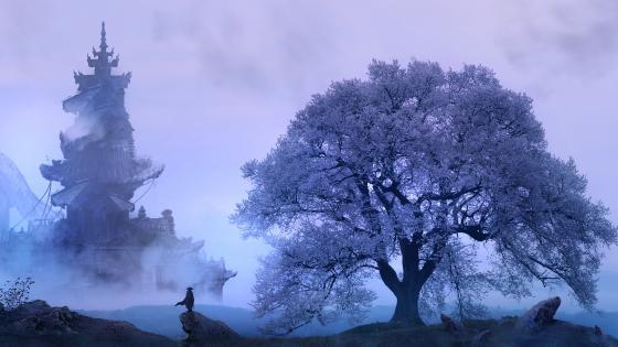 Oriental fantasy spring landscape wallpaper