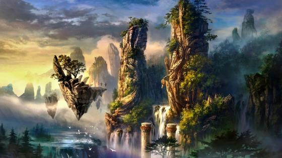 Floating Fantasy Island wallpaper
