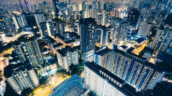 Singapore Skyscrapers at Night wallpaper