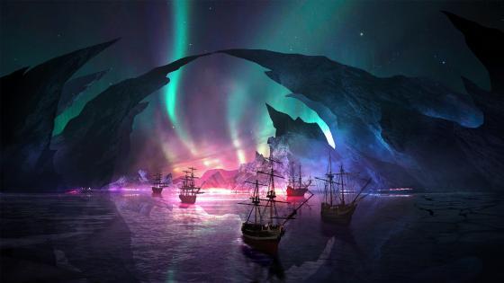 Fantasy polar lights wallpaper