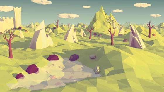 Polygonal low-poly landscape wallpaper