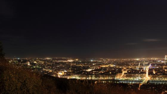 Lyon Cityscape at Night wallpaper