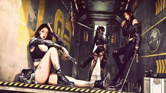 Cyberpunk girl with gun wallpaper