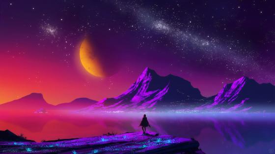 Purple mountains digital lanescape wallpaper