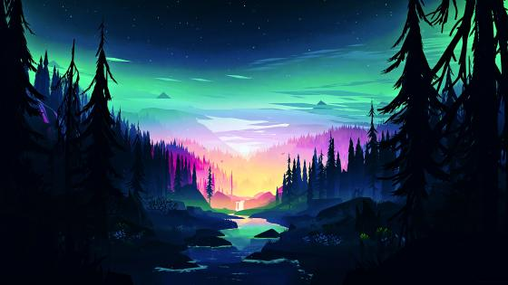 Magical forest wallpaper