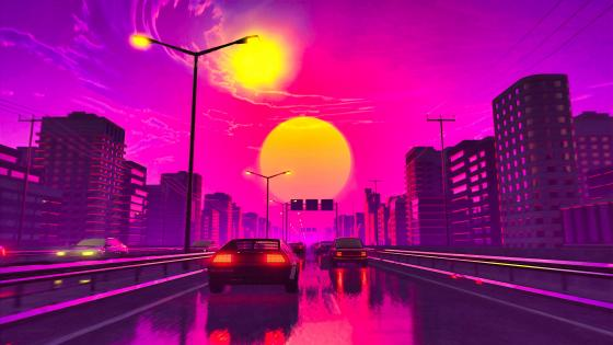 Pink city wallpaper