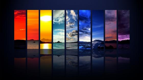 Nature photo montage in rainbow colors wallpaper