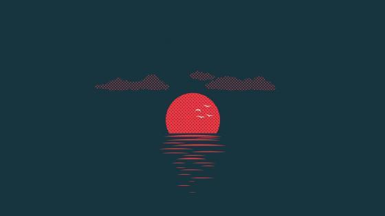 Pixel art sunset wallpaper