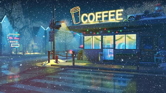 Anime coffee shop wallpaper