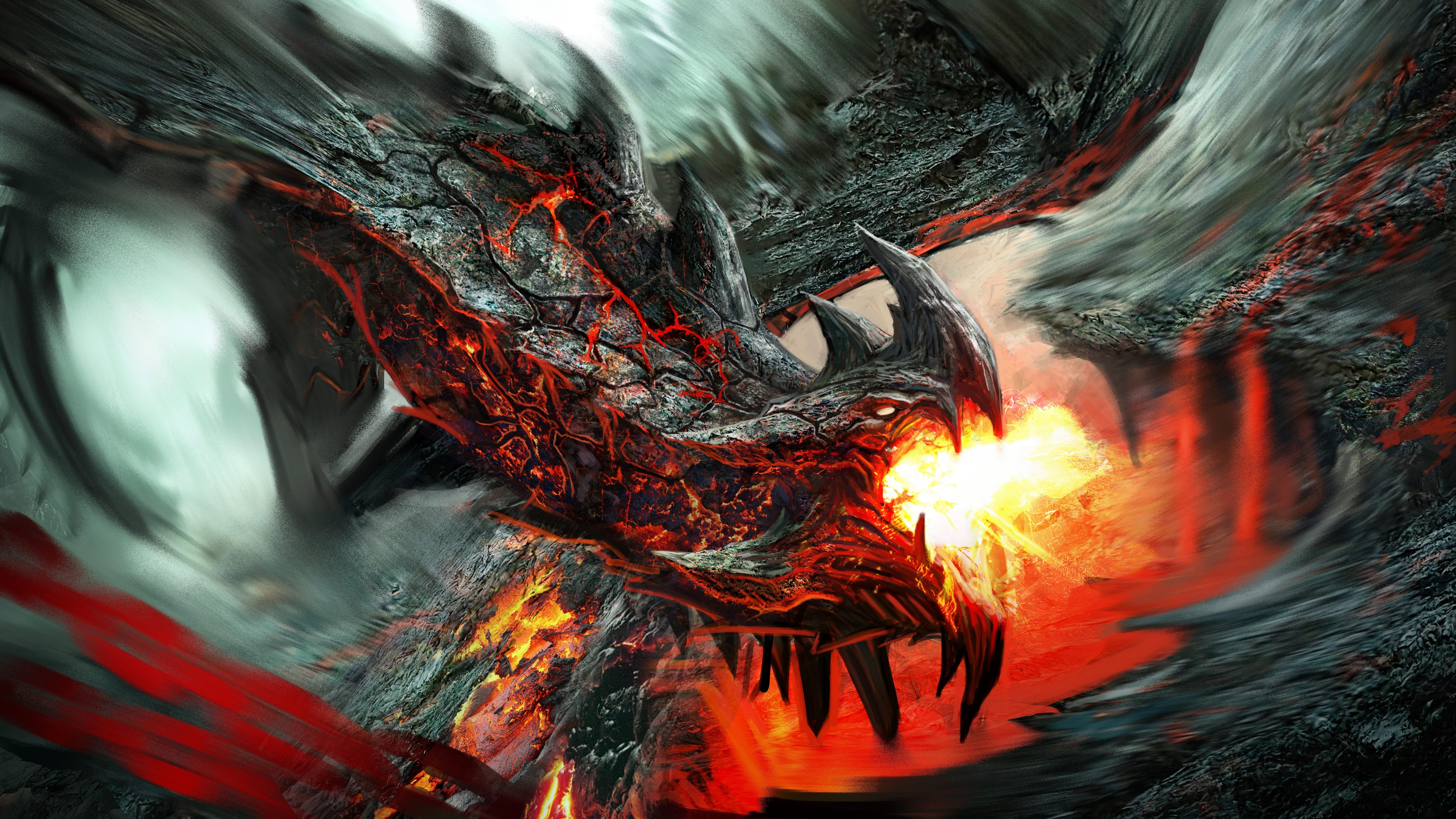 Fire Dragon fantasy art wallpaper