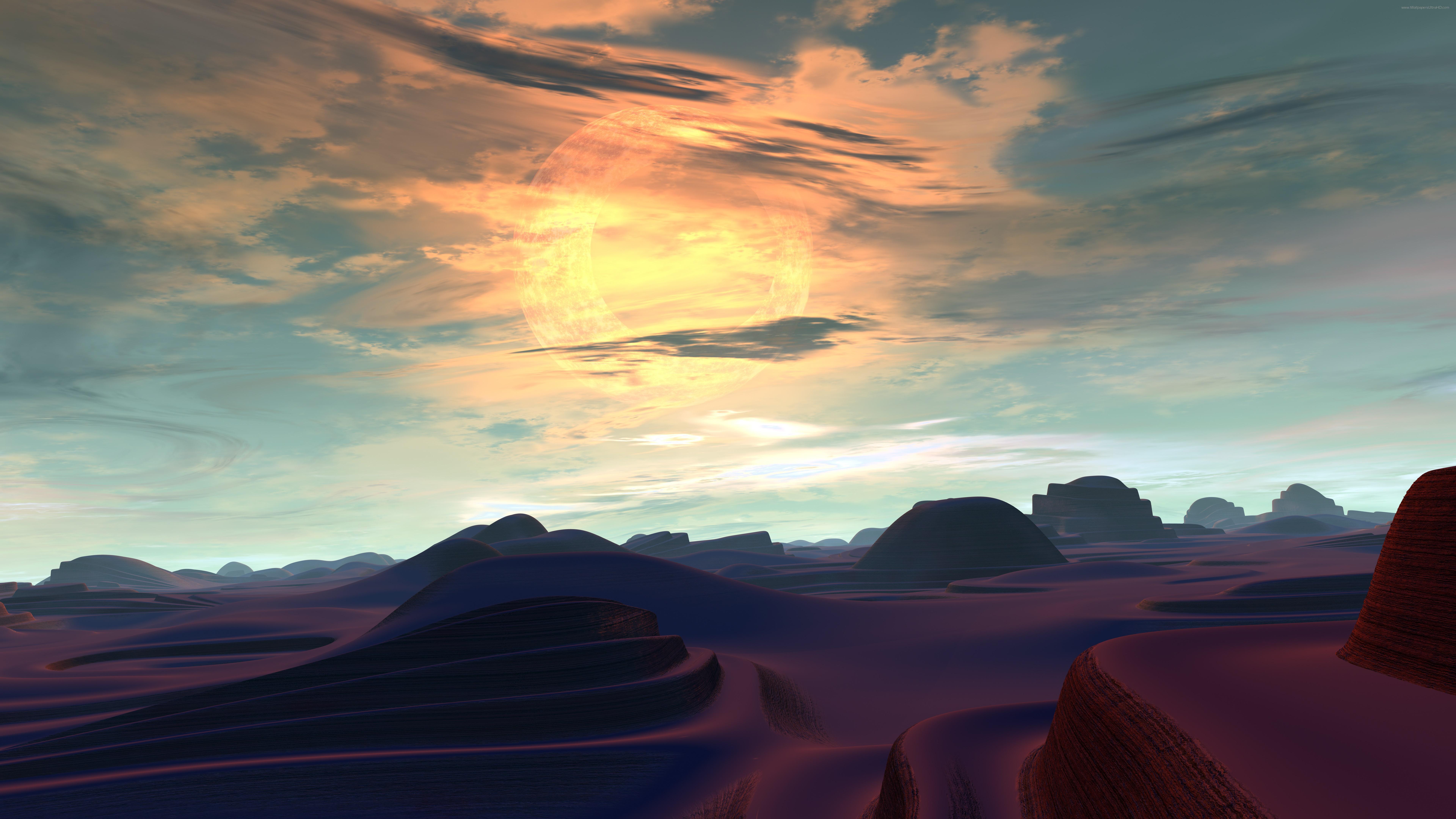 Alien planet landscape digital art 8K UltraHD wallpaper ...