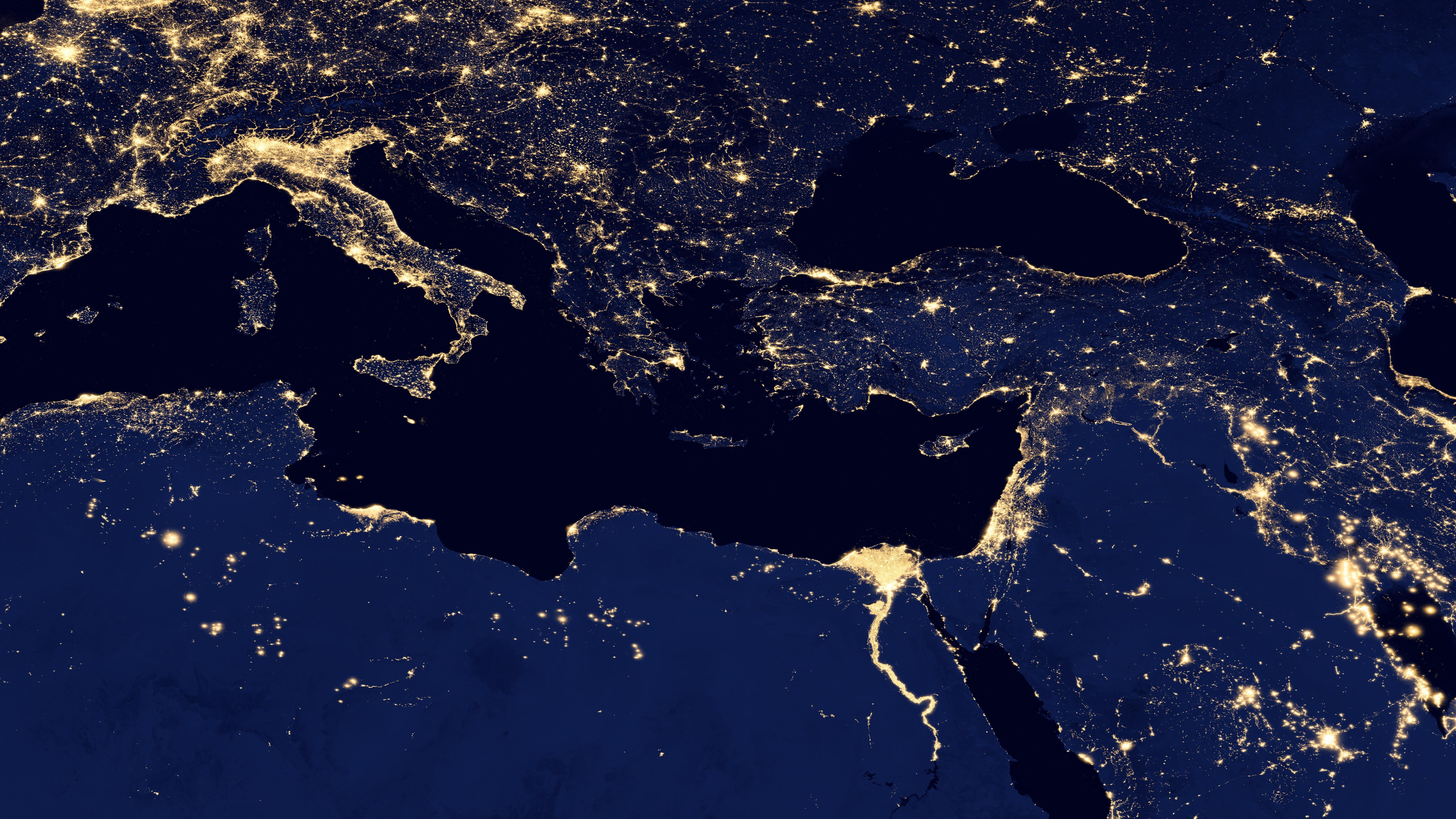 Night Lights of the Mediterranean Sea v2012 wallpaper