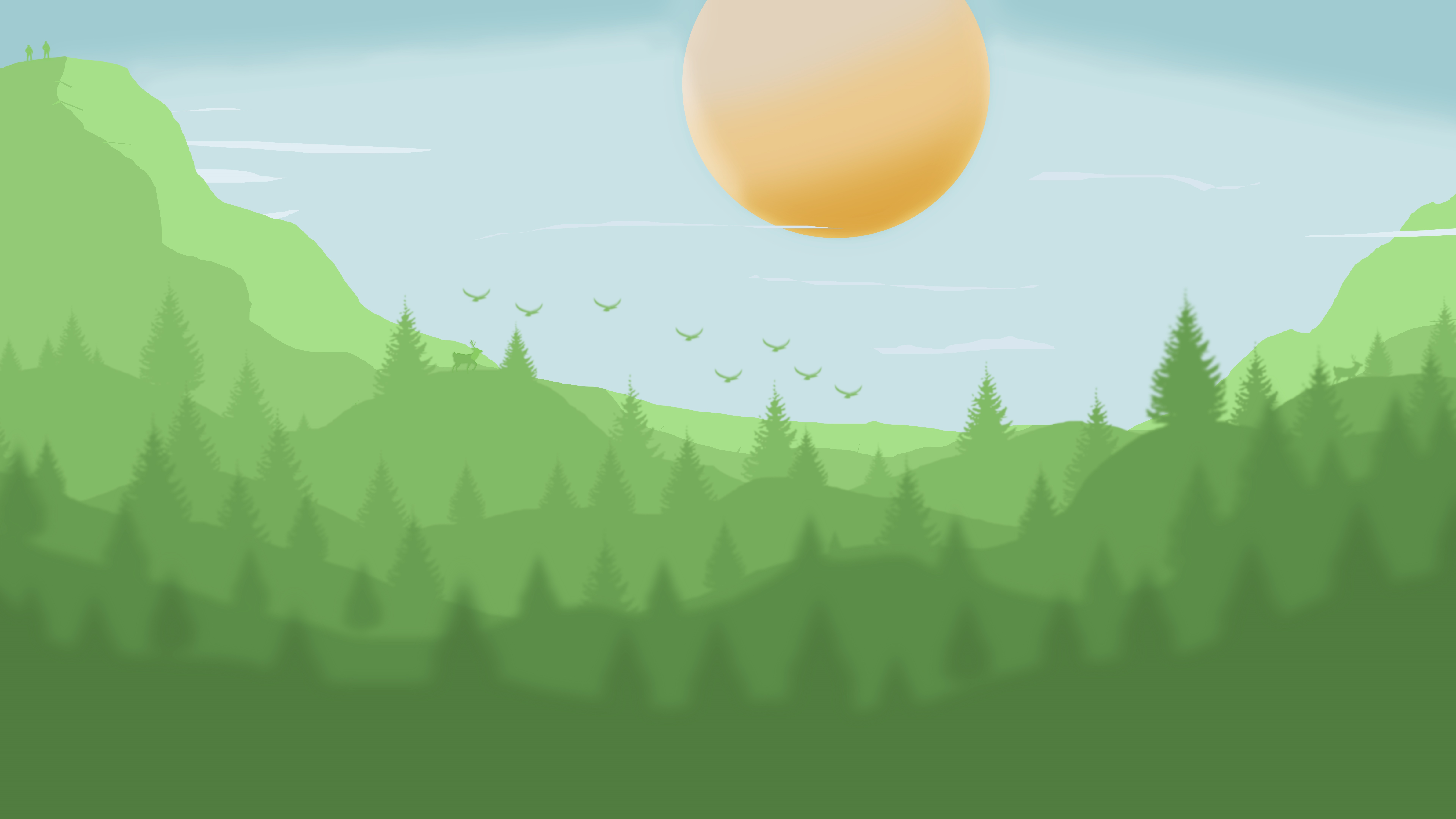Minimalist green forest wallpaper