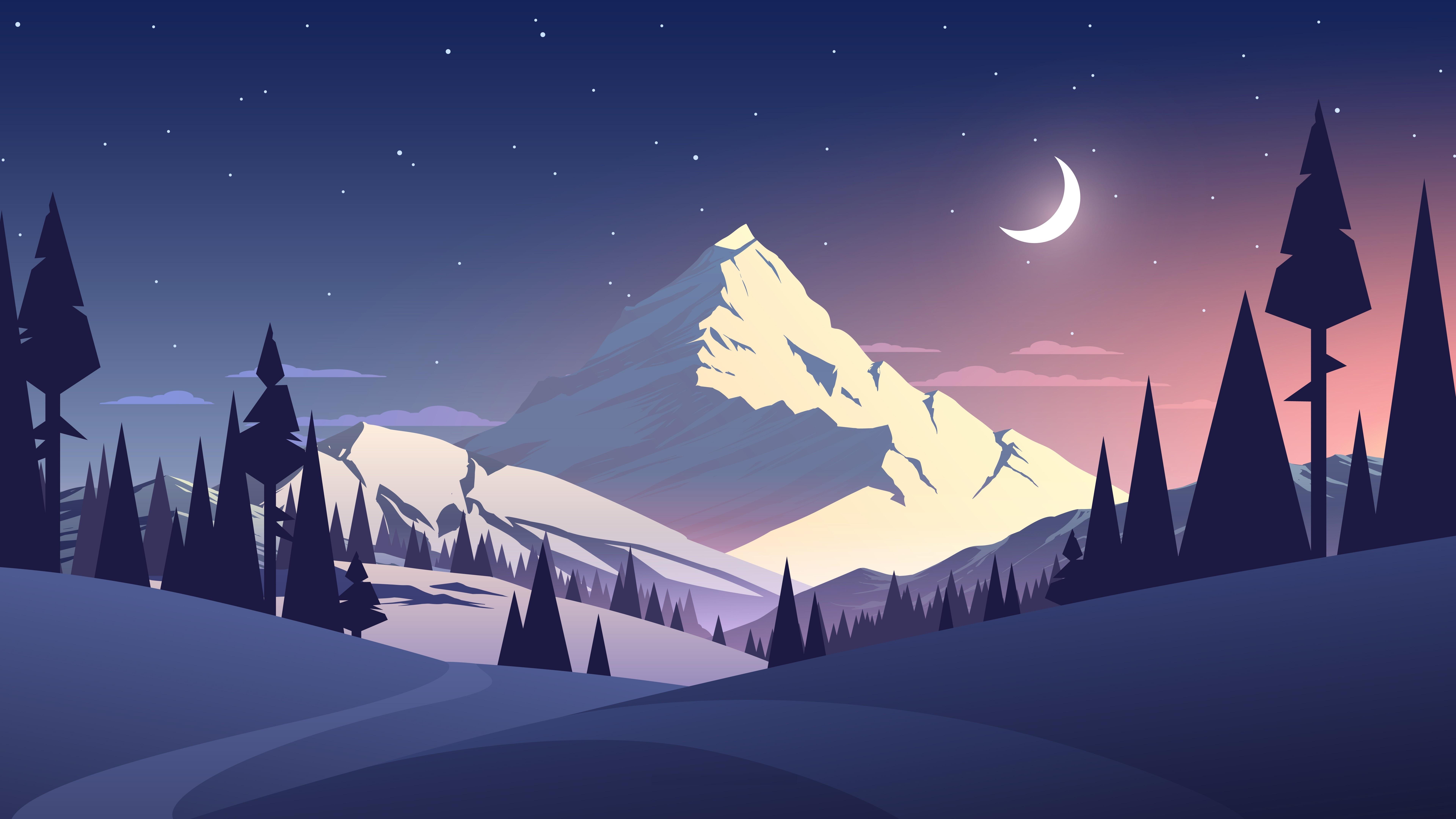 Winter landscape minimalist digital art wallpaper