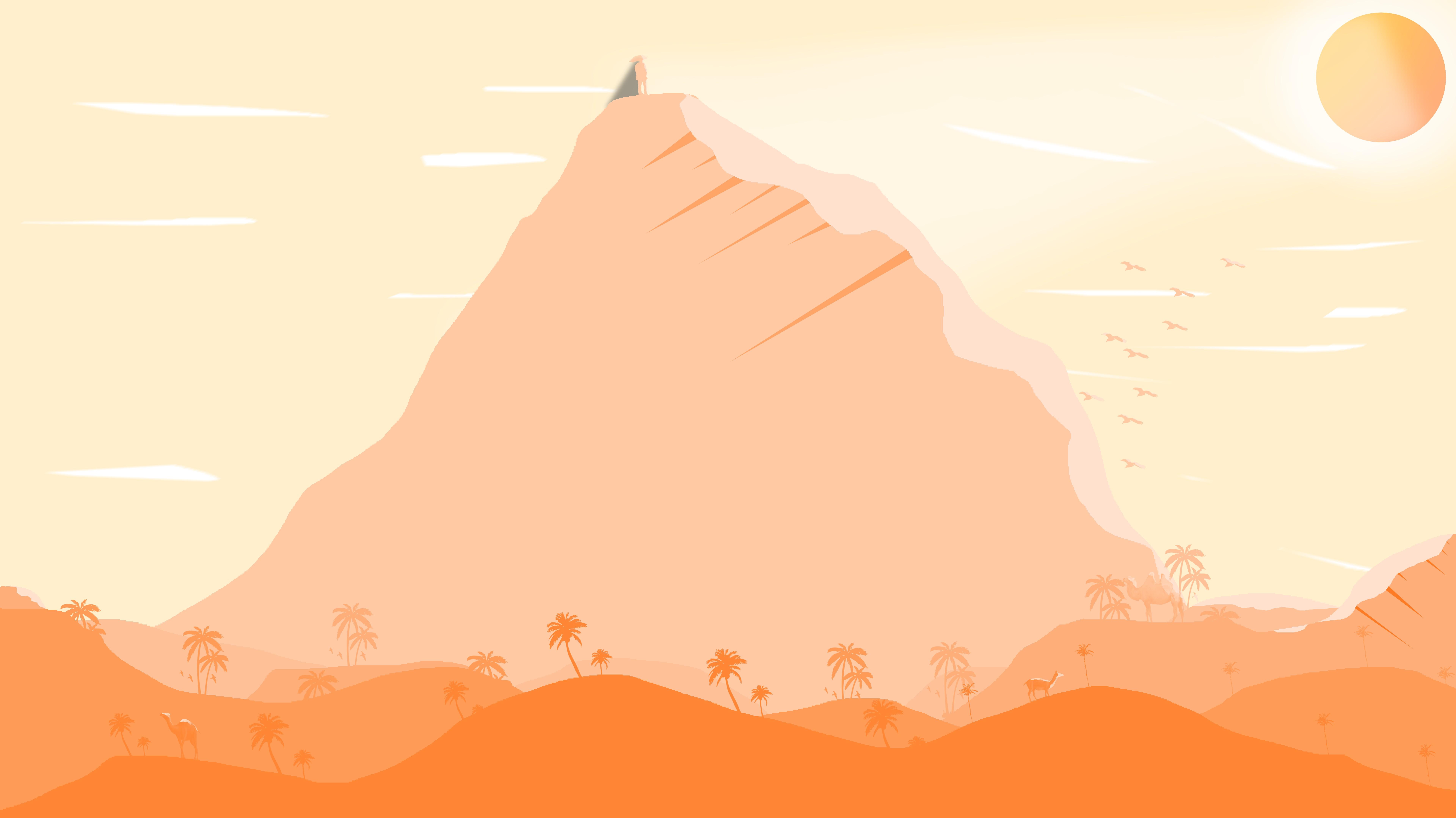 Sandy times  orange theme wallpaper