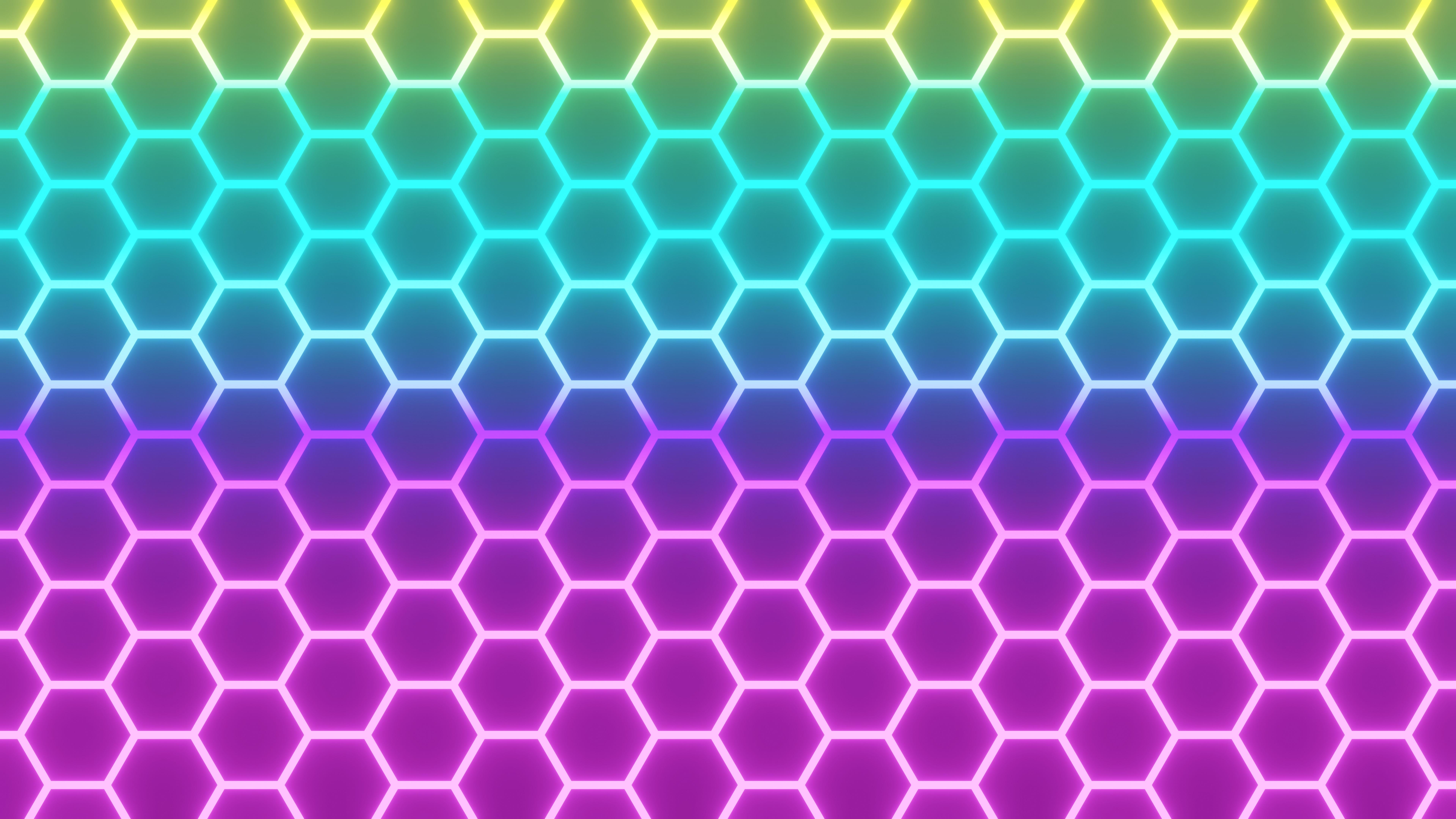 Neon hexagons wallpaper