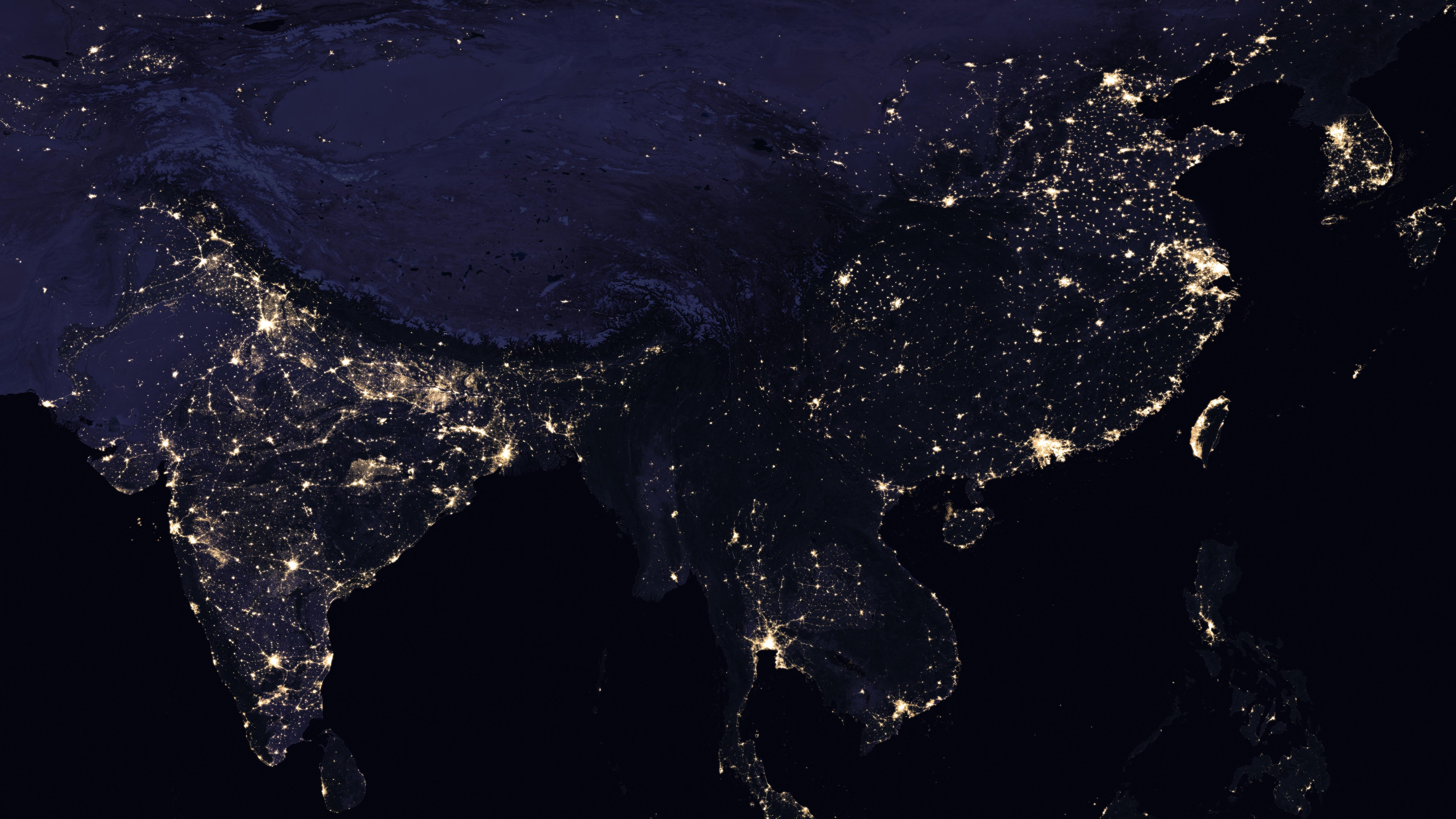 Night Lights of India, China & the Indochinese Peninsula 2016 wallpaper