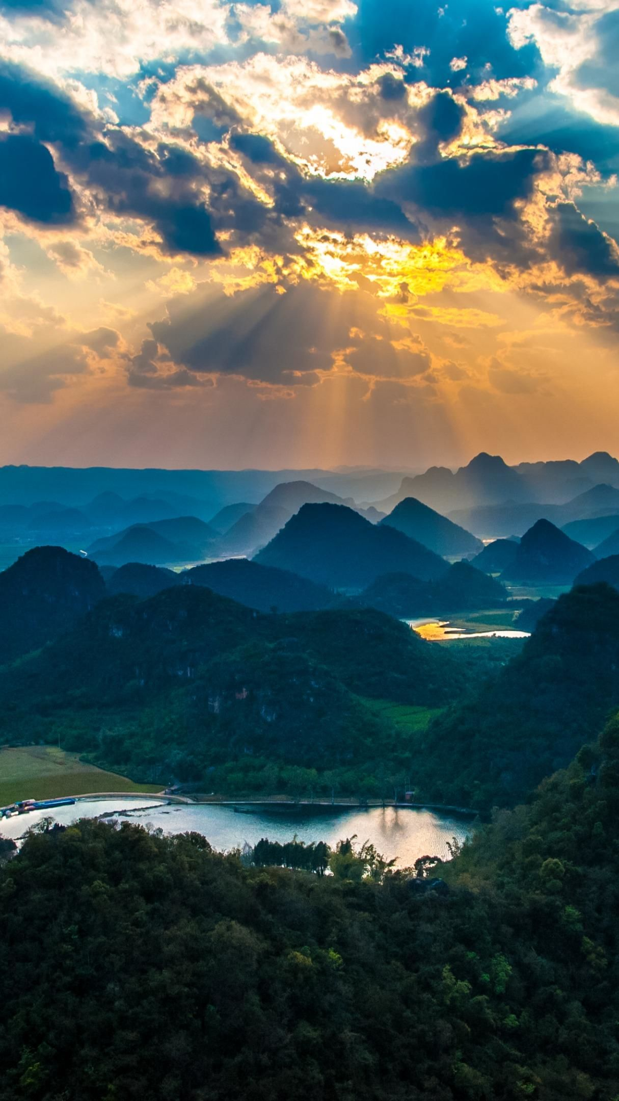 Karst Landscape Of Puzhehei At Sunset 4K UltraHD Wallpaper ...