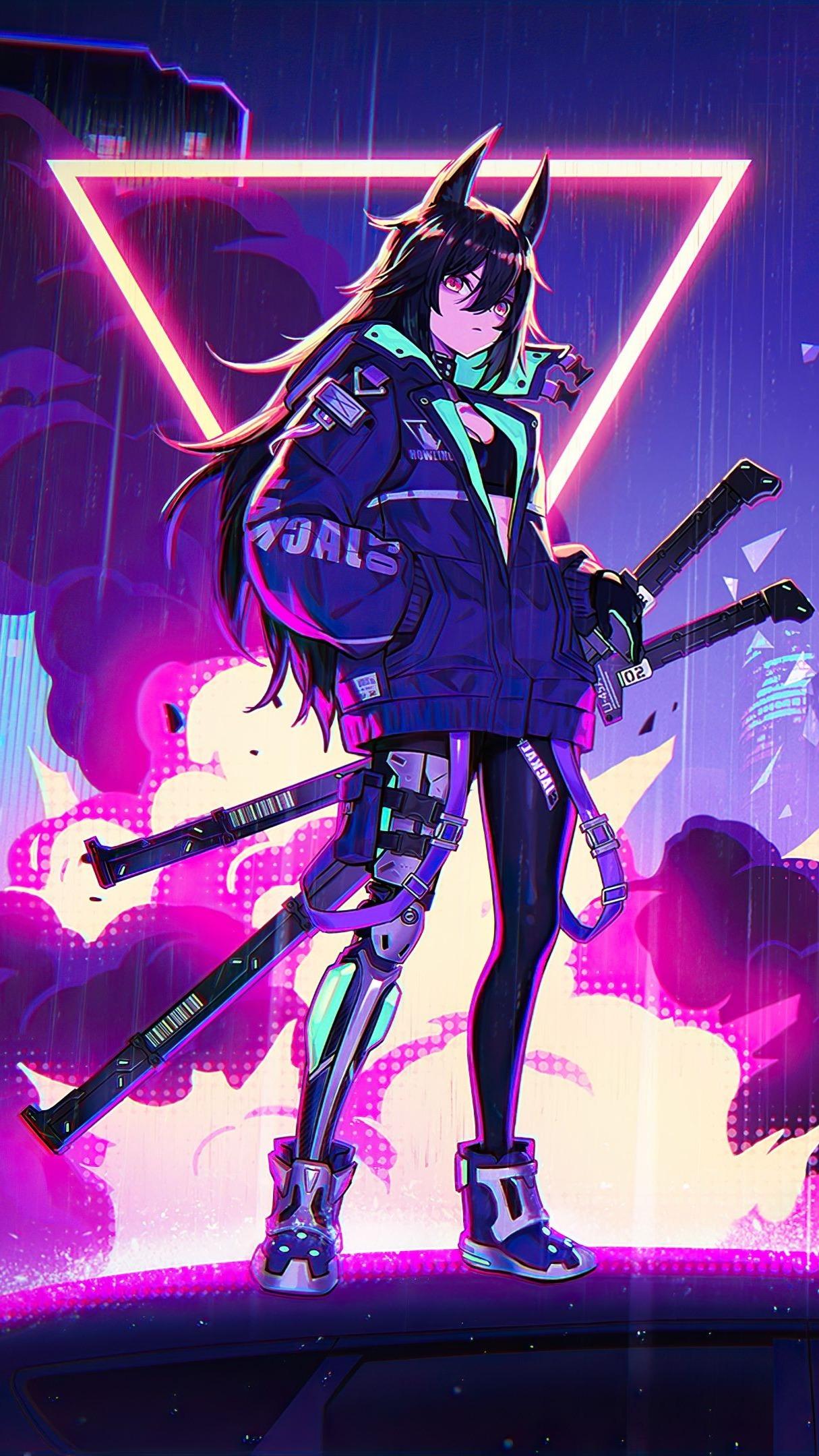 Neon anime girl wallpaper - backiee