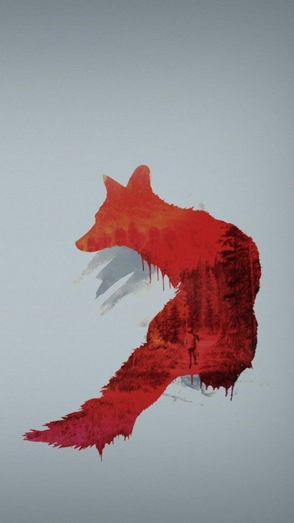 Red Fox Double Exposure Hd Wallpaper Backiee Free